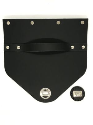 Bőr táskafedél - fekete